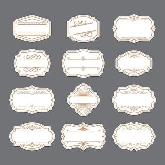 Conjunto de etiquetas adornadas de oro vintage