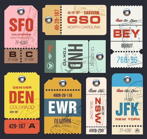 Conjunto de etiquetas de aerolínea. lista de verificación para viajeros.