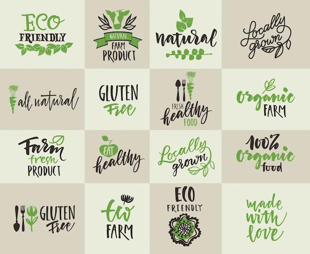 Conjunto de etiquetas para la agricultura natural