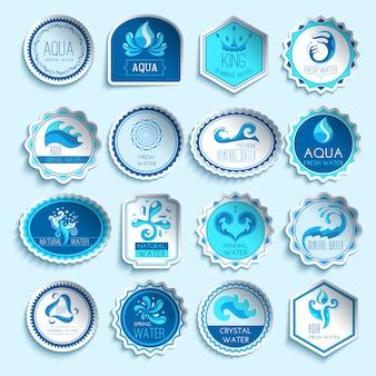 Conjunto de etiquetas de agua