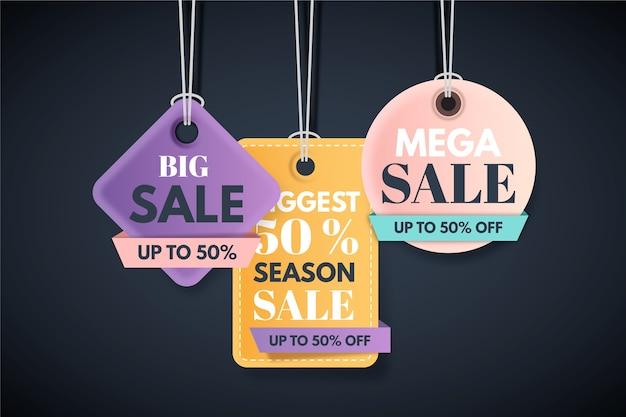 Conjunto de etiquetas de ahorro de venta de fin de año