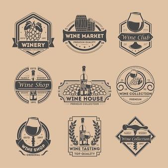 Conjunto de etiquetas aisladas vintage de tienda de vinos