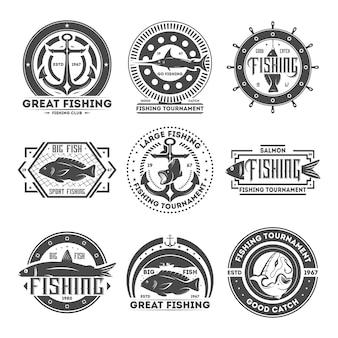 Conjunto de etiquetas aisladas vintage de torneo de pesca