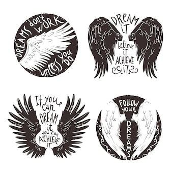 Conjunto de etiquetas de alas