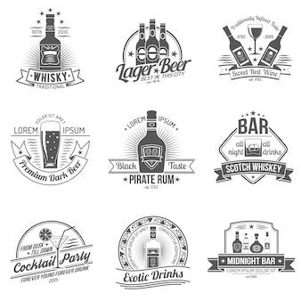 Conjunto de etiquetas de alcohol