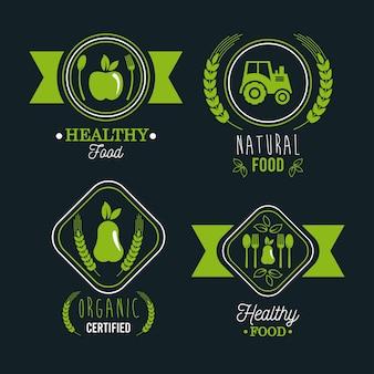 Conjunto de etiquetas de alimentos premium y saludable