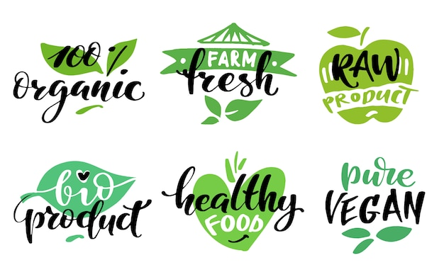 Conjunto de etiquetas de alimentos saludables. etiquetas de productos o adhesivos.