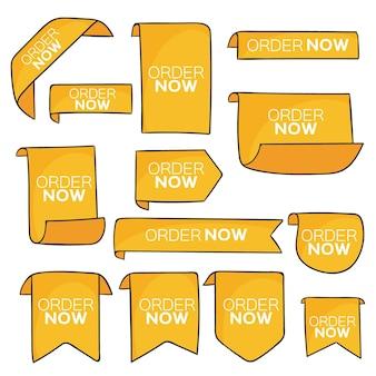 Conjunto de etiquetas amarillas de pedido ahora