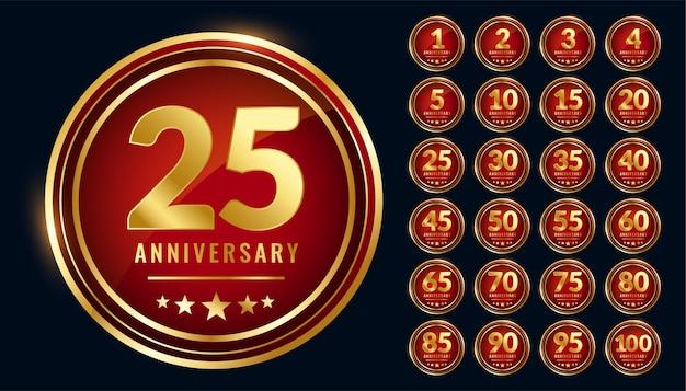 Conjunto de etiquetas de aniversario circular de oro