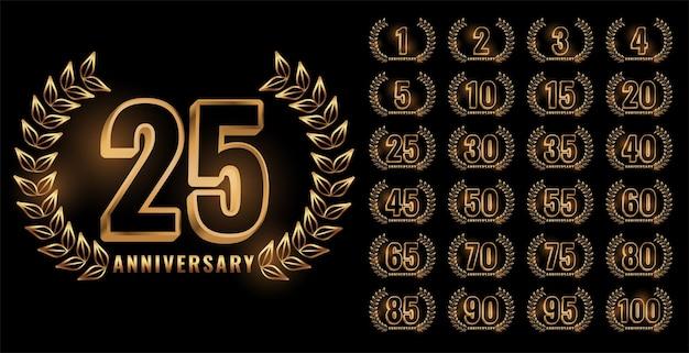 Conjunto de etiquetas de aniversario en color dorado.