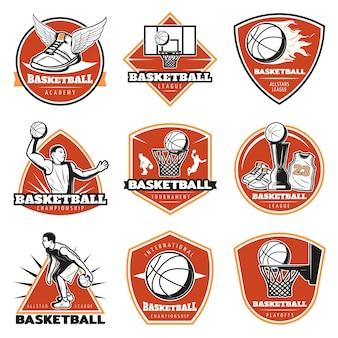 Conjunto de etiquetas de baloncesto vintage de colores