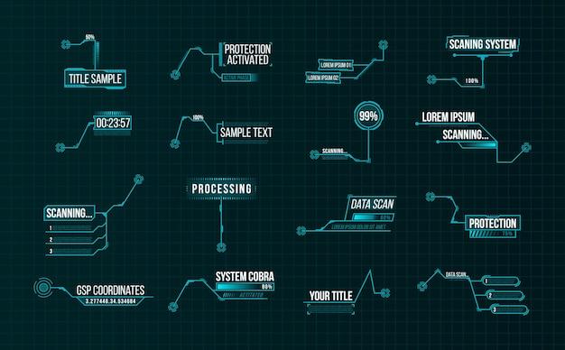 Conjunto de etiquetas de barra de rótulos futuristas, barras de cuadro de llamada de información e información digital moderna.