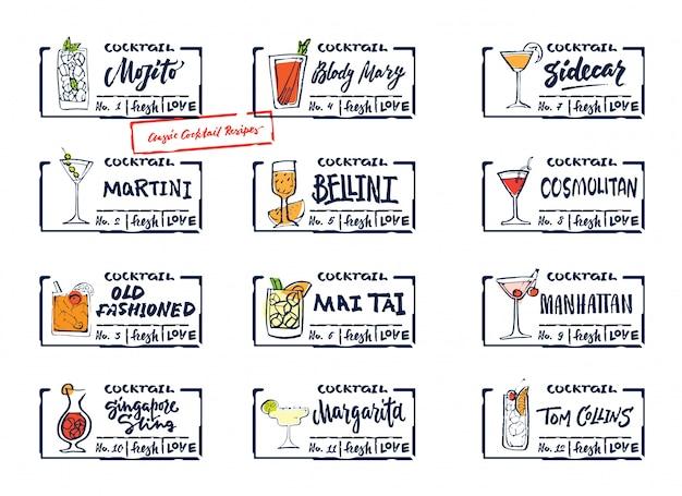 Conjunto de etiquetas de bebidas alcohólicas de bosquejo