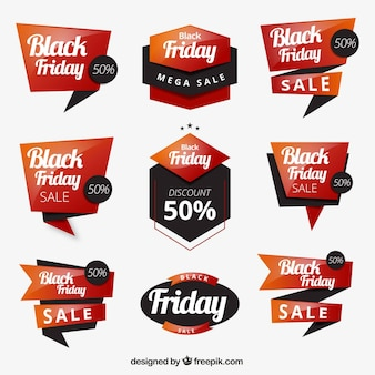 Conjunto de etiquetas de black friday
