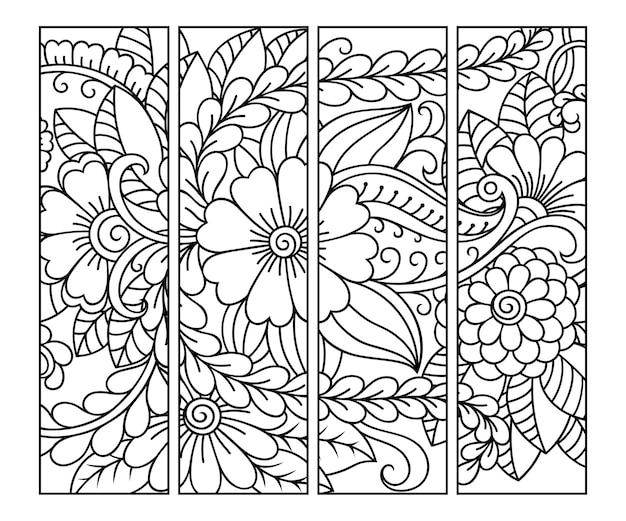 Conjunto de etiquetas en blanco y negro con motivos florales de garabatos, dibujo a mano en estilo mehndi.