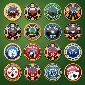 Conjunto de etiquetas brillantes de color de casino y club de póquer. juego de cartas, apuesta y ficha, juego y ocio, suerte y fortuna, ilustración vectorial