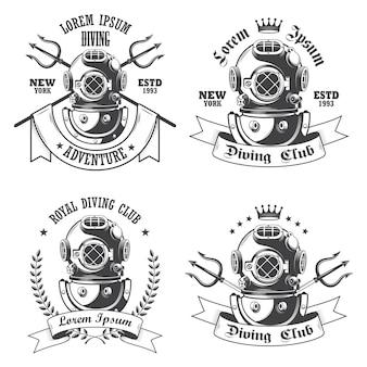 Conjunto de etiquetas de buceo, emblemas y elementos diseñados.