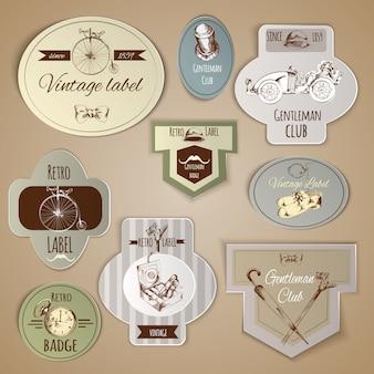 Conjunto de etiquetas de caballero