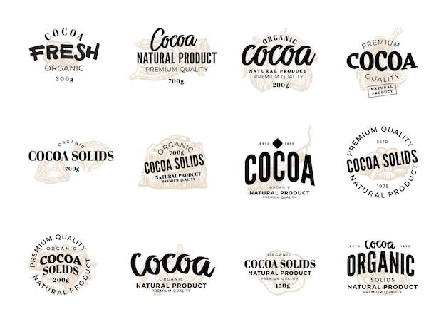 Conjunto de etiquetas de cacao aislado con descripciones de calidad premium de productos naturales de cacao orgánico fresco de cacao