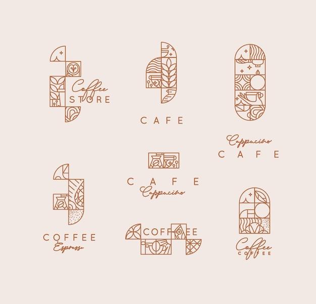 Conjunto de etiquetas de café art deco modernas creativas en estilo de línea plana dibujo sobre fondo beige.