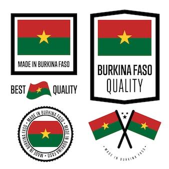 Conjunto de etiquetas de calidad de burkina faso