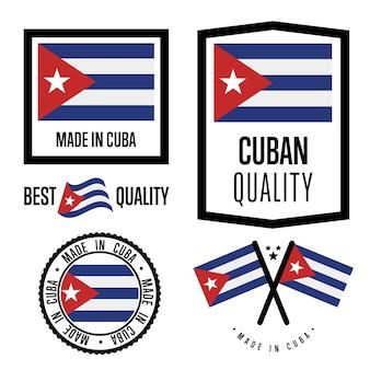 Conjunto de etiquetas de calidad de cuba