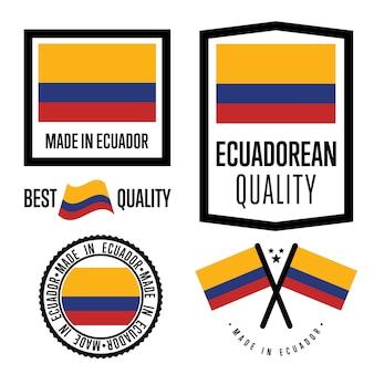 Conjunto de etiquetas de calidad de ecuador