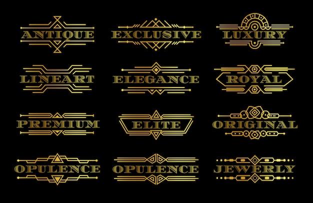 Conjunto de etiquetas de calidad premium doradas, plantilla de logotipo de texto dorado con contorno de contorno, logotipo elegante con marco lineal, elemento decorativo de lujo, colección de emblemas vintage, ilustración aislada