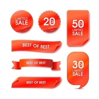 Conjunto de etiquetas de calidad premium. etiquetas de ilustración moderna para compras, comercio electrónico, promoción de productos, pegatinas de redes sociales, marketing.