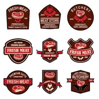 Conjunto de etiquetas de carne fresca
