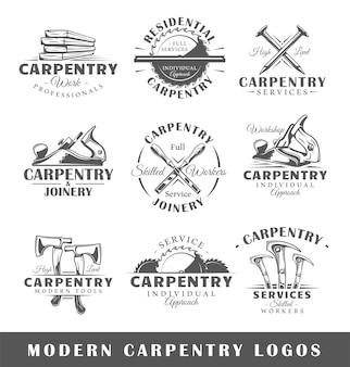 Conjunto de etiquetas de carpintería moderna
