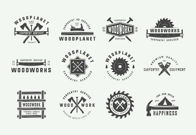 Conjunto de etiquetas de carpintería vintage.