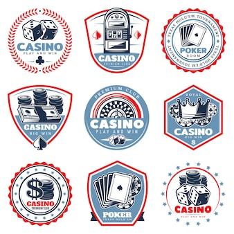 Conjunto de etiquetas de casino de colores vintage