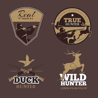 Conjunto de etiquetas de caza de color retro. cazador salvaje, emblema vintage, apuntar y pato, ilustración vectorial