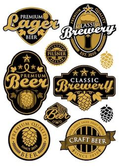 Conjunto de etiquetas de cervecería
