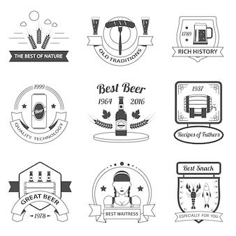 Conjunto de etiquetas de cerveza