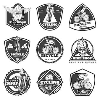 Conjunto de etiquetas de ciclismo monocromo