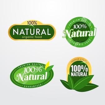 Conjunto de etiquetas cien por ciento naturales.