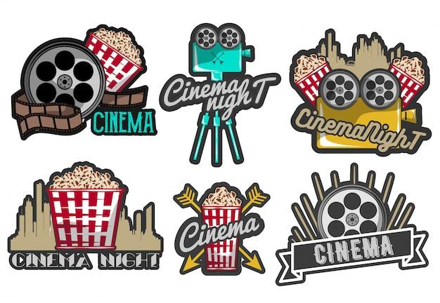 Conjunto de etiquetas de cine y logotipos.