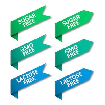 Conjunto de etiquetas de cintas. sin azúcar, sin ogm, sin lactosa