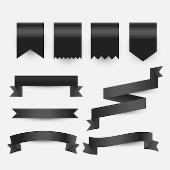 Conjunto de etiquetas de cintas y etiquetas negras