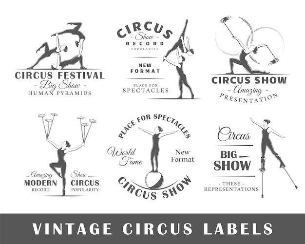 Conjunto de etiquetas de circo vintage