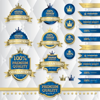 Conjunto de etiquetas clásicas de oro, elementos vintage, calidad premium, edición limitada, oferta especial, ilustración