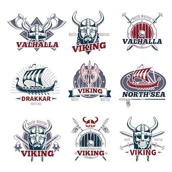 Conjunto de etiquetas de colores vikingos