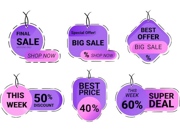Conjunto de etiquetas de compras