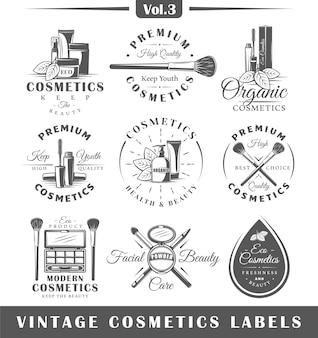 Conjunto de etiquetas de cosméticos vintage, logotipos