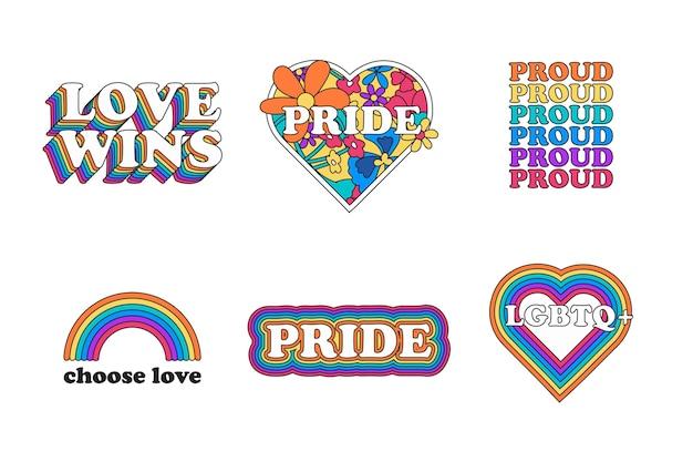 Conjunto de etiquetas creativas del día del orgullo