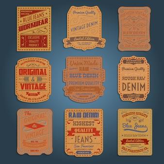 Conjunto de etiquetas de cuero clásico denim jeans.