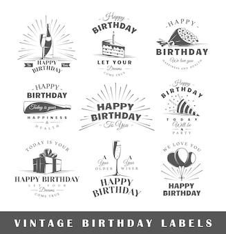 Conjunto de etiquetas de cumpleaños vintage