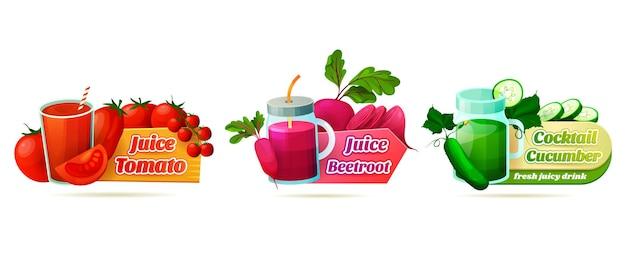 Conjunto de etiquetas decorativas para jugo o bebida de vegetales